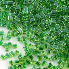 Miyuki 4mm Cube Seed Bead Inside Color Lined Lime Emerald  15g SB4-2636
