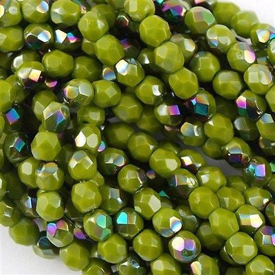 100 Czech Fire Polished 4mm Round Bead Opaque Olive Vitrail FP4-53420V