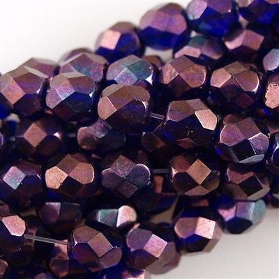 50 Czech Fire Polished 6mm Round Bead Cobalt Vega (30090E)