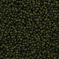 Toho Round Seed Beads 6/0 Matte Olive 5.5-inch tube (617)