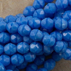 50 Czech Fire Polished 8mm Round Bead Sky Blue Coral (64020)