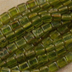 50 CzechMates 6mm Two Hole Tile Beads Olivine Picasso T6-50230T