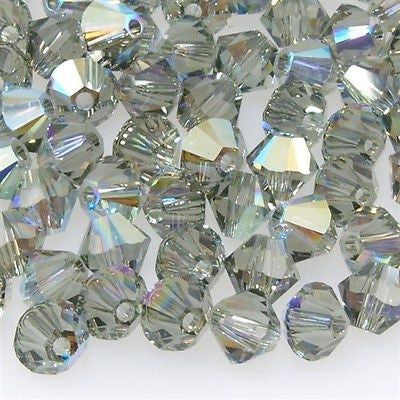 24 Swarovski 5328 Xilion 6mm Bicone Bead Black Diamond AB (215 AB)