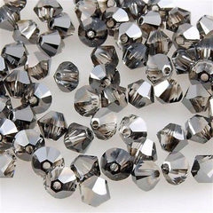 144 Swarovski 5328 Xilion 4mm Bicone Bead Crystal Silver Night (001 SINI)