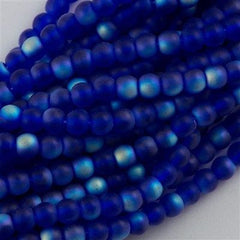 100 Czech 6mm Pressed Glass Round Beads Matte Cobalt AB (30090MX)