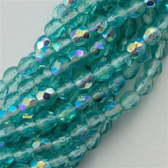 100 Czech Fire Polished 3mm Round Bead Light Teal AB (60210X)