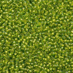 Toho Round Seed Beads 11/0 Silver Lined Lime Green AB 15g 11-2024