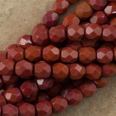 100 Czech Fire Polished 4mm Round Bead Burnt Umber (93500)
