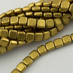 50 CzechMates 6mm Two Hole Tile Beads Matte Metallic Aztec Gold (01720K)