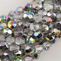 50 Czech Fire Polished 6mm Round Bead Crystal Vitrail (00030V)