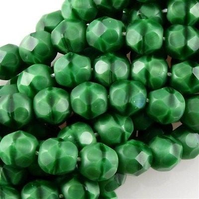 50 Czech Fire Polished 6mm Round Bead Opaque Green with Black (54110)