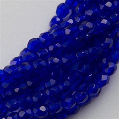 100 Czech Fire Polished 3mm Round Bead Cobalt (30090)