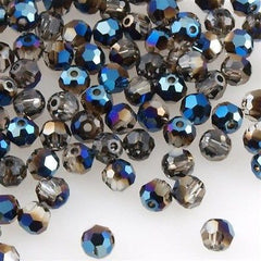 Swarovski 4mm 5000 Round Bead Crystal Metallic Blue (001 METBL)