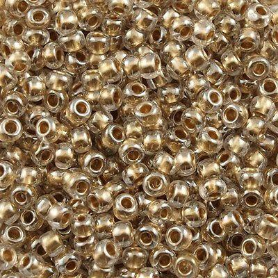 50g Toho Round Seed Bead 11/0 Inside Color Lined Gold (989)