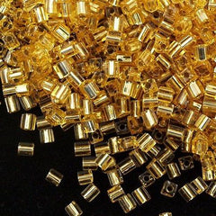 Miyuki 4mm Square Cube Seed Bead Silver Lined Gold 15g (3)