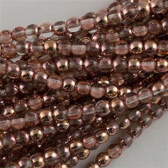 200 Czech 4mm Pressed Glass Round Beads Apollo Gold (27101)