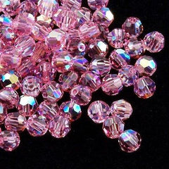 Swarovski Crystal 6mm 5000 Round Bead Light Rose AB (223 AB)