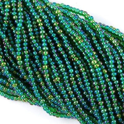 Czech Seed Bead Transparent Green AB 1/2 Hank 11/0 (51060)
