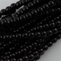 100 Czech 6mm Pressed Glass Round Beads Jet Black (23980)