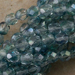 50 Czech Fire Polished 6mm Round Bead Blue Green Dual Lustered (91007)