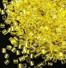 Miyuki 4mm Square Cube Seed Bead Silver Lined Yellow 15g SB4-6
