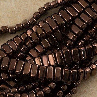 50 CzechMates 3x6mm Two Hole Brick Beads Dark Bronze (14415)
