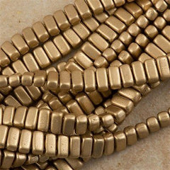 50 CzechMates 3x6mm Two Hole Brick Beads Matte Metallic Flax (01710K)