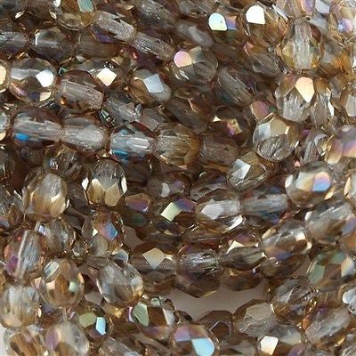 100 Czech Fire Polished 4mm Round Bead Light Sapphire Celsian FP4-30020Z