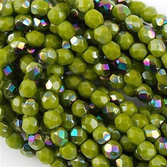 100 Czech Fire Polished 3mm Round Bead Opaque Olive Vitrail (53420V)