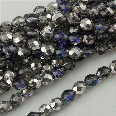 50 Czech Fire Polished 8mm Round Bead Silver Blue Crystal FP8-28003