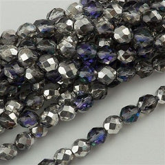 50 Czech Fire Polished 8mm Round Bead Silver Blue Crystal (28003)
