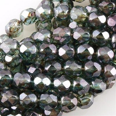 50 Czech Fire Polished 6mm Round Bead Transparent Green Luster (65431)