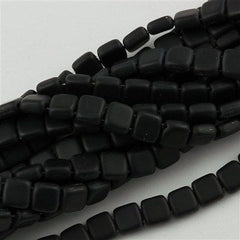 50 CzechMates 6mm Two Hole Tile Beads Matte Jet (23980M)