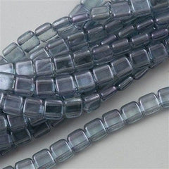 50 CzechMates 6mm Two Hole Tile Beads Transparent Blue Luster T6-14464