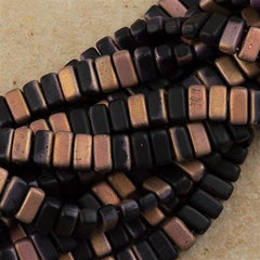 50 CzechMates 3x6mm Two Hole Brick Beads Matte Apollo Jet (23980AM)