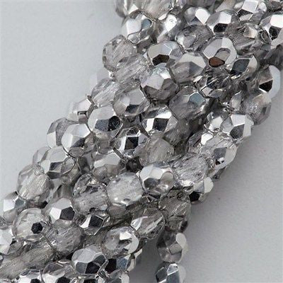 100 Czech Fire Polished 4mm Round Bead Silver 1/2 (27001)