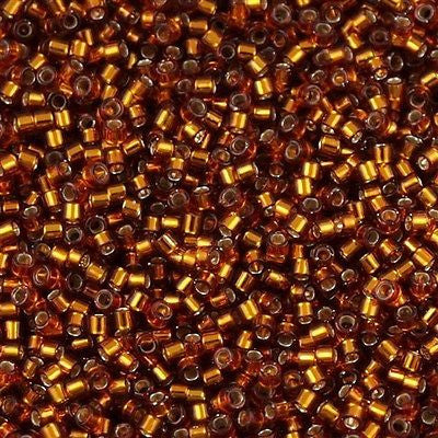 Miyuki Delica Seed Beads 11/0 Silver Lined Amber 5g DB144