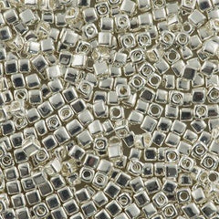 Miyuki 1.8mm Cube Seed Bead Bright Sterling Silver Plated 15g (961)