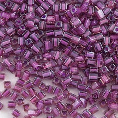 Miyuki 4mm Cube Seed Bead Inside Color Lined Rose Violet 15g (2650)