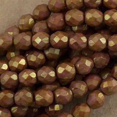 50 Czech Fire Polished 8mm Round Bead Opaque Rose Gold Topaz Luster (65491P)