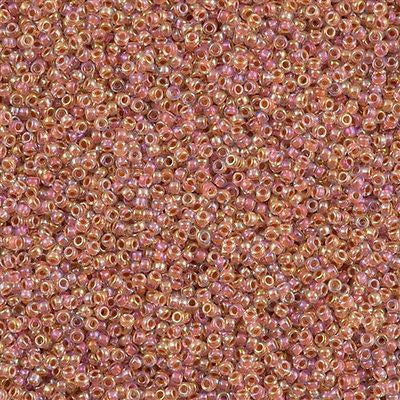 Miyuki Round Seed Bead 15/0 Inside Color Lined Salmon AB 10g (275)