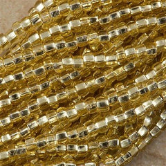Czech Seed Bead Silver Lined Gold 1/2 Hank 8/0 (17020)