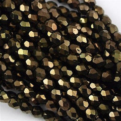 100 Czech Fire Polished 4mm Round Bead Metallic Brown FP4-14496B