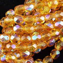50 Czech Fire Polished 8mm Round Bead Medium Topaz AB (10060X)