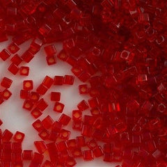 Miyuki 1.8mm Cube Seed Bead Transparent Ruby Red 8g Tube (140)