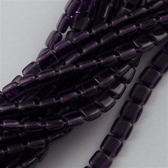 50 CzechMates 6mm Two Hole Tile Beads Tanzanite (20510)