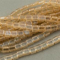 50 CzechMates 6mm Two Hole Tile Beads Transparent Champagne Luster (14413)