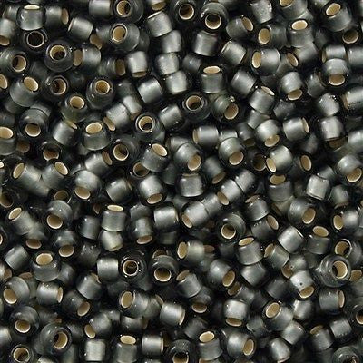Toho Round Seed Bead 11/0 Silver Lined Transparent Matte Gray 19g Tube (29BF)