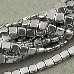 50 CzechMates 6mm Two Hole Tile Beads Silver (27000)