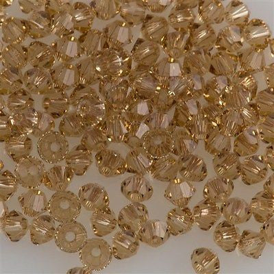 144 Swarovski 5328 Xilion Crystal 3mm Bicone Bead Light Colorado Topaz (246)